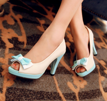 Load image into Gallery viewer, Peep Toe Bow Chunky Heel Pumps Platform High Heels Fashion Women Shoes 3739