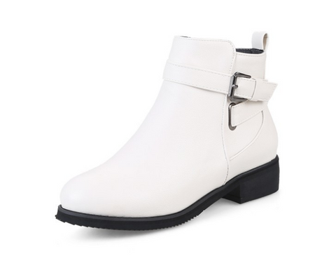 Buckle Ankle Boots Women Motorcycle Boots Square Heel 7704