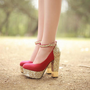 Glitter Women Chunky Heel Pumps Platform Ankle Straps High Heels Shoes Woman