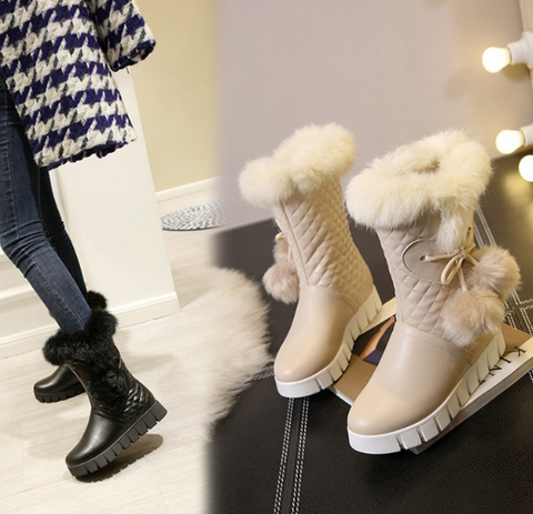 Fur Snow Boots Wedges Winter Women Shoes