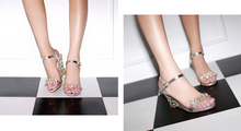 Load image into Gallery viewer, Rhinestone Platform Sandals Women Pumps Ankle Straps Wedges High Heels Shoes Woman