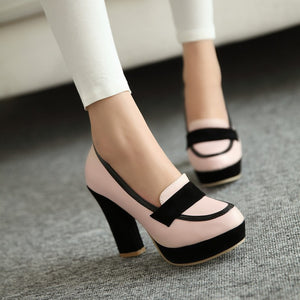 Women Chunky Heel Pumps Platform Shoes High Heels  9773