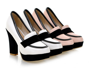 Women Platform Pumps Black and White Pu Leather High Heels Shoes Woman 3409