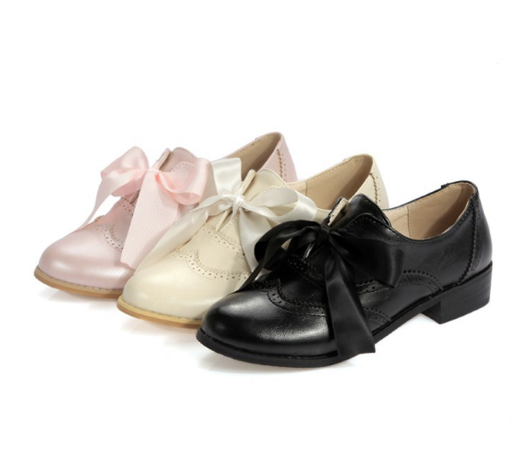 Bow Tie Lace Up Women Low Heeled Shoes