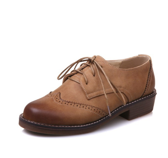 Lace Up Oxfords Women Low Heeled Shoes