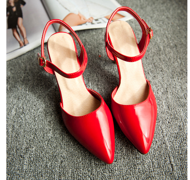 Fashion Ankle Straps Sandals Pumps High Heels Women Dress Shoes 7720