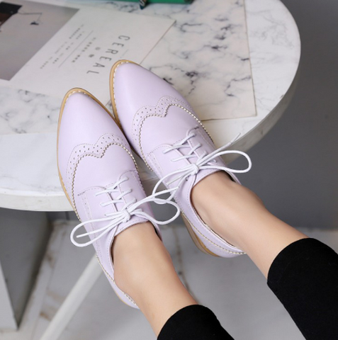 Women Flats Lace Up Cutout Shoes 4689