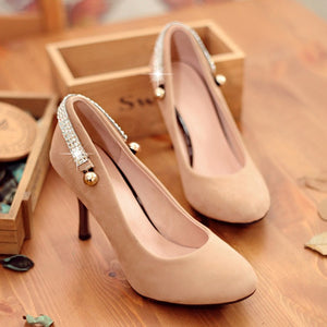 Pointed Toe Rhinestone Pumps High Heels Shoes Woman
