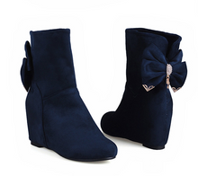 Load image into Gallery viewer, Bow Tie Ankle Boots Wedges Shoes Woman