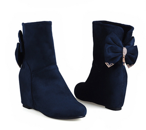 Bow Tie Ankle Boots Wedges Shoes Woman