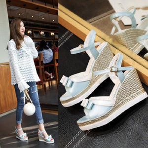 Fashion Bowtie Wedges Sandals Pumps Platform High Heels Women Shoes 7240