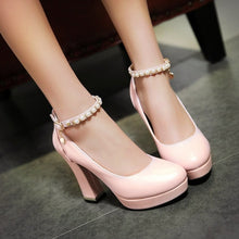 Load image into Gallery viewer, Pearl Ankle Straps Women Chunky Heel Pumps High Heels Dress Shoes