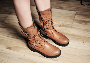 Soft Leather Women Boots Lace Up Round Toe Ankle Boots Shoes Woman