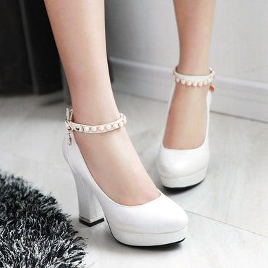 Pearl Ankle Straps Women Chunky Heel Pumps High Heels Dress Shoes
