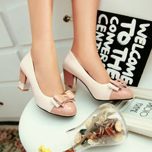 Load image into Gallery viewer, Patent Leather Bow Rhinestone Pumps High Heels Women Shoes 2615