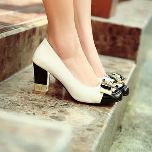 Patent Leather Bow Rhinestone Pumps High Heels Women Shoes 2615