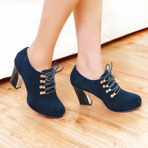 Women Ankle Boots Platform Round Toe Lace Up High Heels Shoes Woman 2016 3571