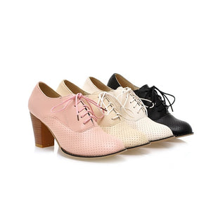 Lace Up Pointed Toe Women Chunky Heel Pumps Platform High Heels Shoes Woman