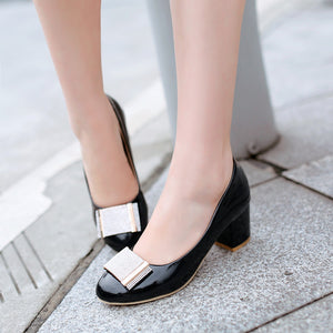 Metal Chunky Heel Pumps Platform High Heels Fashion Women Shoes 5440