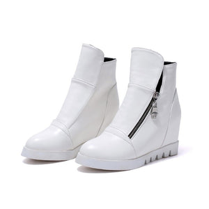 Ankle Boots Pu Leather Zipper Round Toe Black White Women Shoes 75916107