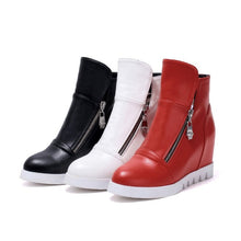 Load image into Gallery viewer, Ankle Boots Pu Leather Zipper Round Toe Black White Women Shoes 75916107