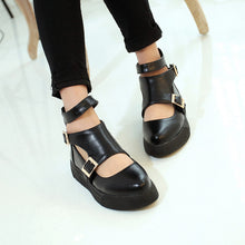 Load image into Gallery viewer, Pointed Toe Women Flats Buckle Pu Leather Shoes Woman