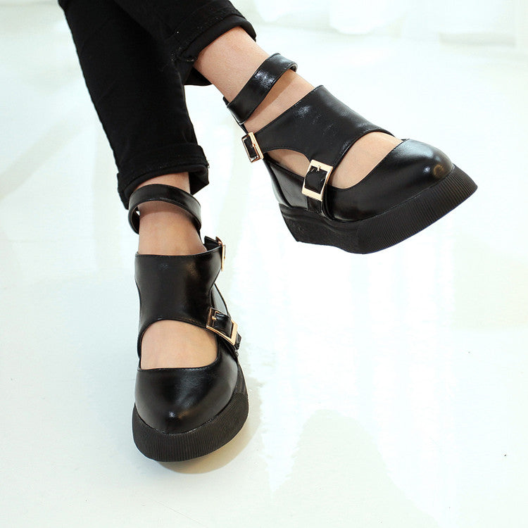 Pointed Toe Women Flats Buckle Pu Leather Shoes Woman