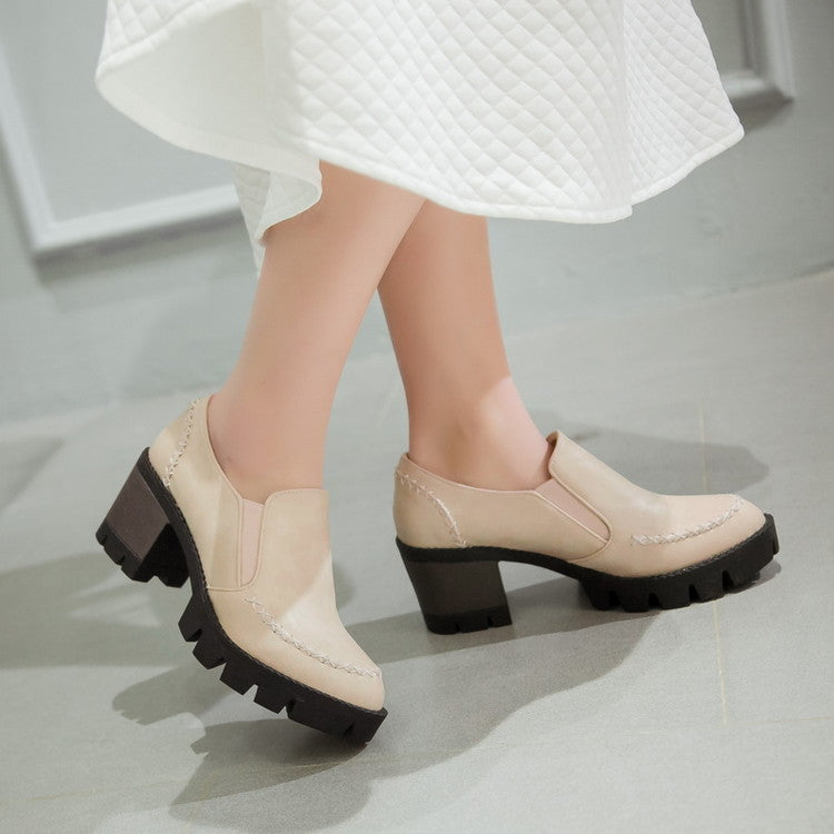 PU Leather Women High Heels Platform Shoes Woman