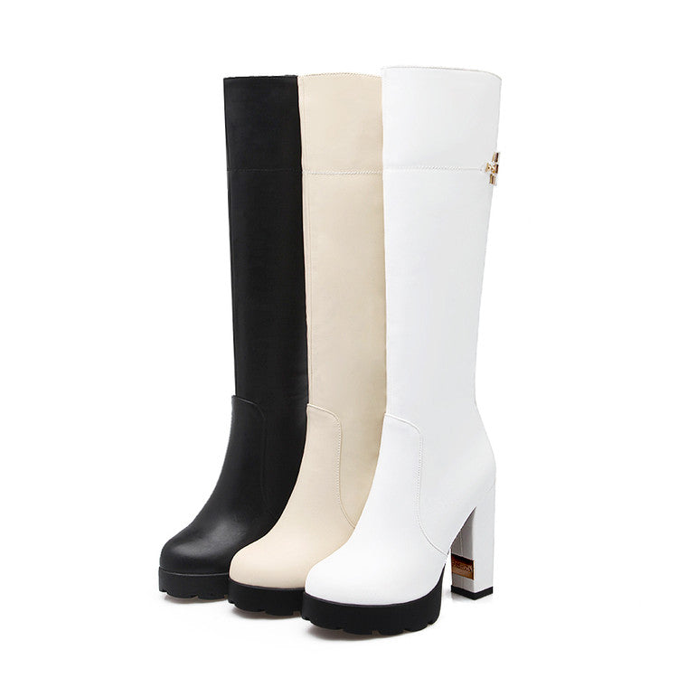 Black Knee High Boots Platform High Heels Round Toe Shoes Woman 3324