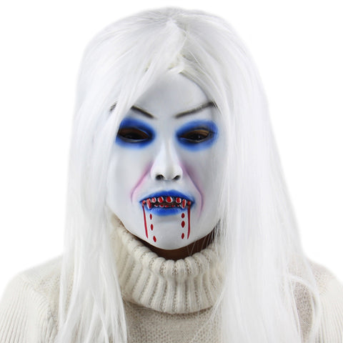 Masquerade Halloween Party White Witch Latex Mask