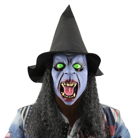 Halloween Party Witch Latex Tusks Mask with Hat Wig Masquerade