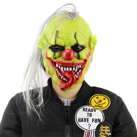 Green Face Clown Latex Halloween Mask with Wig Hair Masquerade