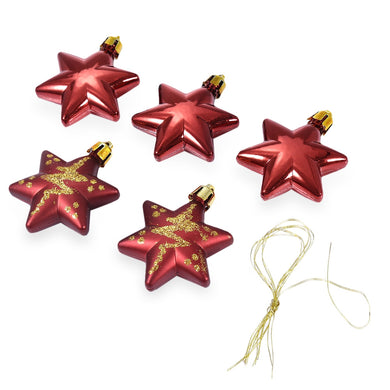 5pcs Merry Christmas Decorating Five-pointed Star Hanging Ornaments with Rope