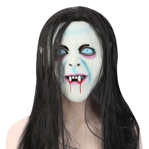 The Grudge Sadako Ghost Figure Latex Mask with Wig Hai for Halloween