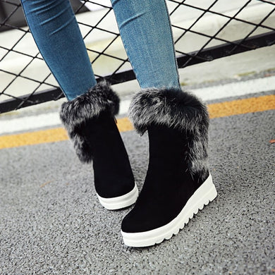 Rabbit Fur Wedges Snow Boots Women Shoes Fall|Winter 6278