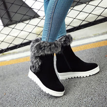 Load image into Gallery viewer, Rabbit Fur Wedges Snow Boots Women Shoes Fall|Winter 6278