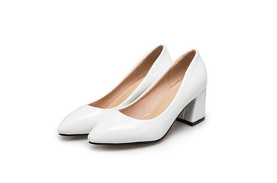 Pointed Toe High Heels Women Chunky Heel Pumps 1165