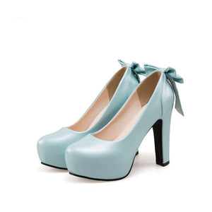 Women Pumps Back Bowtie High Heels Shoes Woman
