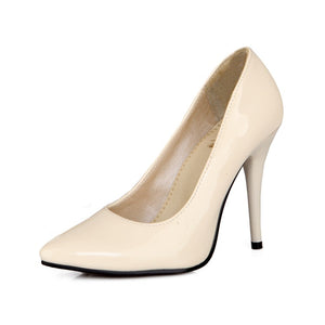 Patent Leather Pointed Toe Women Pumps High Heels Spike Shoes