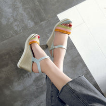 Load image into Gallery viewer, Women Woven Wedges Sandals Ankle Straps Pumps Platform High-heeled Shoes