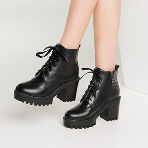 Lace Up Ankle Boots High Heels Women Shoes Fall|Winter 11191501