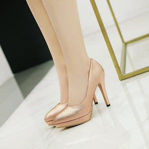 Patent Leather Women Pumps Platform Stiletto Heel High Heels Shoes Woman