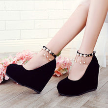Load image into Gallery viewer, Women Wedges Rhinestone Ankle Straps High Heels Pumps Platform Shoes