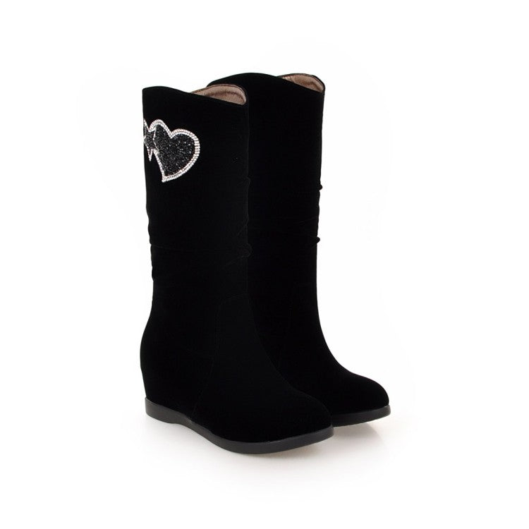 Black Rhinestone Wedges Mid Calf Boots Shoes Woman