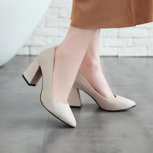 Load image into Gallery viewer, Women Pumps Flock Medium Heel Black Dress Shoes Woman 3537
