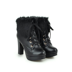 Motorcycle Boots Fur Collar Lace Up Winter High Heels Women Shoes