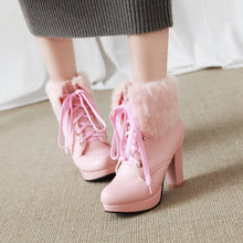 Load image into Gallery viewer, Motorcycle Boots Fur Collar Lace Up Winter High Heels Women Shoes