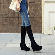Load image into Gallery viewer, Round Toe Knee High Boots Wedges Black Shoes Fall|Winter 6989