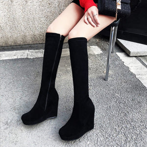 Round Toe Knee High Boots Wedges Black Shoes Fall|Winter 6989