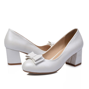 Women Pumps High Heels Thick Heel Bowtie Shoes Woman 3430